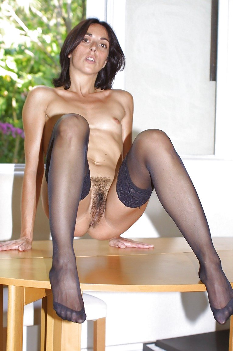 pee brunette first time Stockings