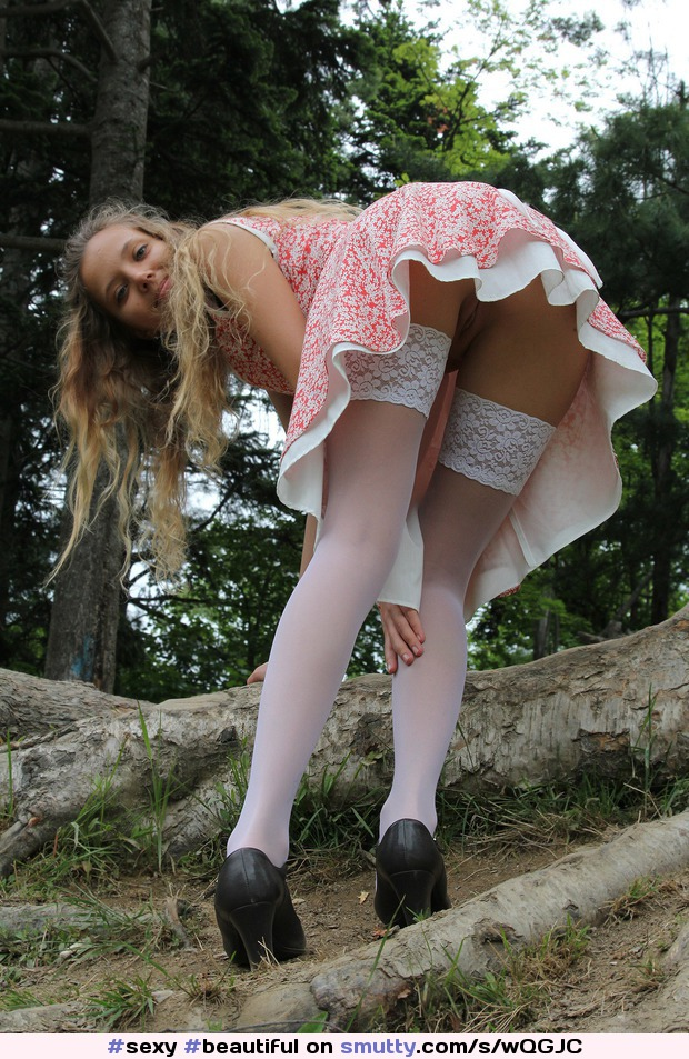 blonde upskirt beauty Outdoor