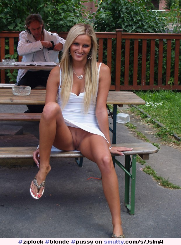 Outdoor beauty blonde upskirt