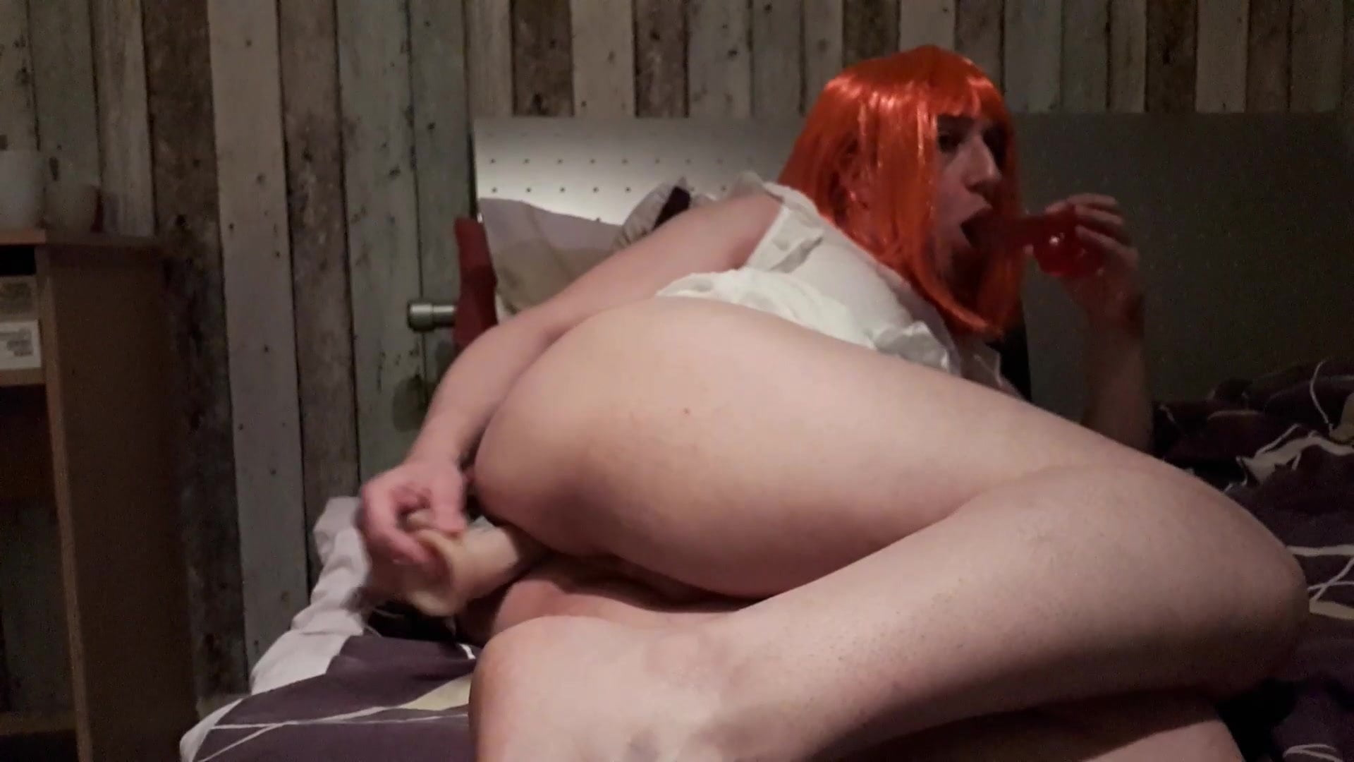 gagging sissy Double mounth penetration